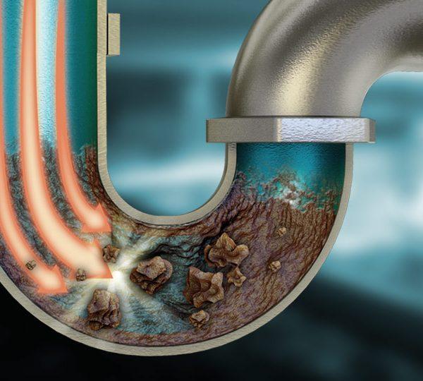 Action d'un Hydrocurage sur une canalisation